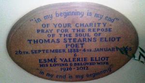 alt=T. S. Eliot plaque