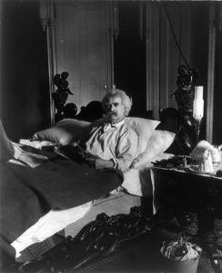 Mark Twain in bed